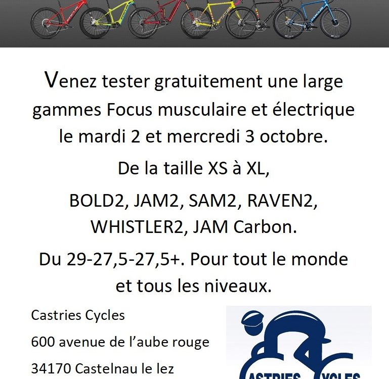 Tests Focus chez Castries Cycles